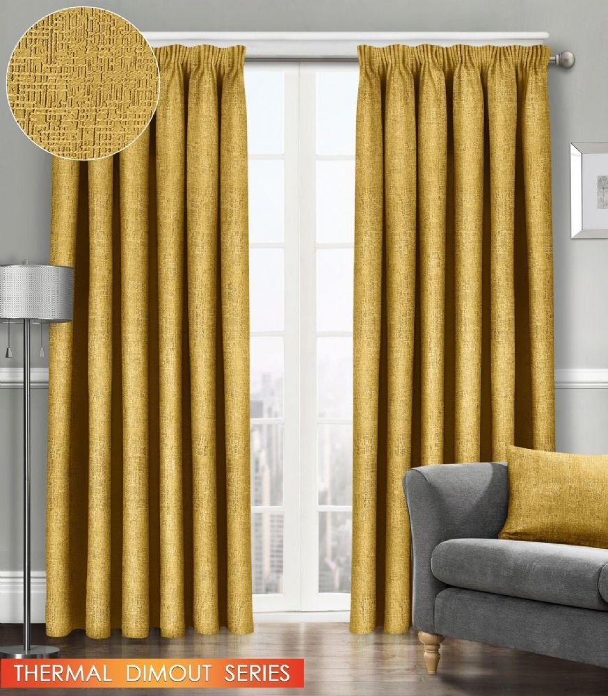 SEMI PLAIN READY MADE THERMAL WOVEN MATERIAL DIMOUT PENCIL PLEAT PAIR CURTAINS OCHRE COLOUR